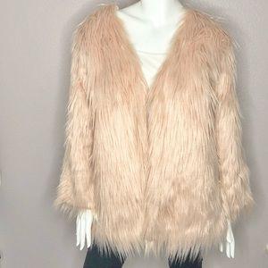 Long Sleeve Fluffy Faux Fur Warm Coat